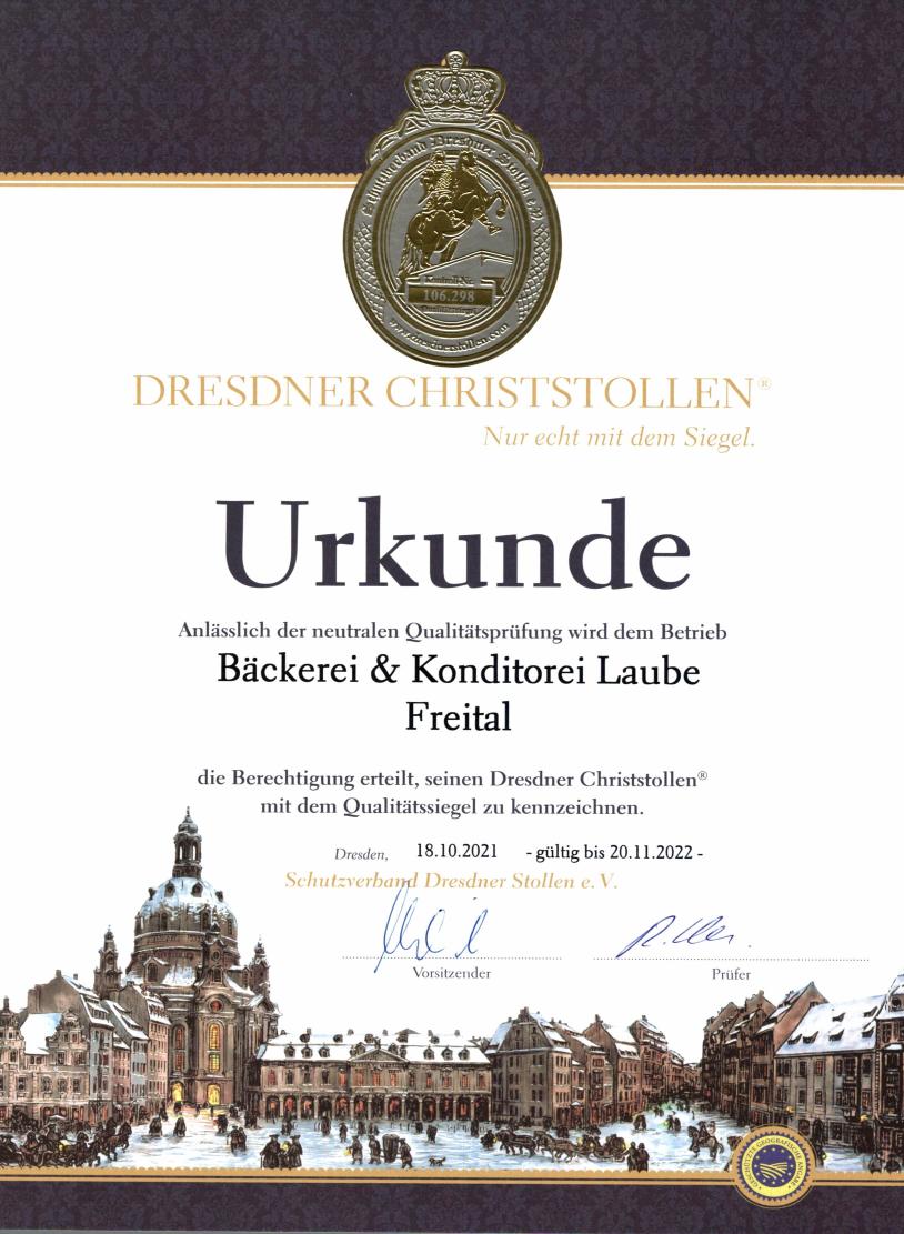 Goldenes Siegel des Stollenschutzverbandes - Urkunde 2021